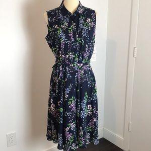Nanette Lepore Navy Floral Sleeveless Dress NWT 8